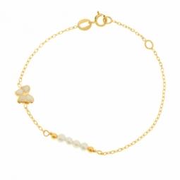 Bracelet en or jaune et laque, perles de culture, papillon