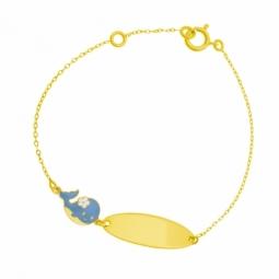 Bracelet identité en or jaune et laque, baleine