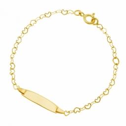 Bracelet identité en or jaune, chaîne coeur et plaque rectangle bombée lisse