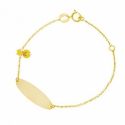 Bracelet idendité en or jaune et laque, poussin jaune