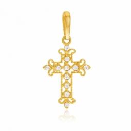 Croix en or jaune, oxydes de zirconium