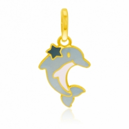 Pendentif en or jaune et laque, dauphin