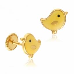 Boucles d'oreilles en or jaune et laque, poussins