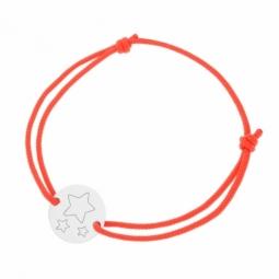 Bracelet cordon rose en argent rhodié, étoile