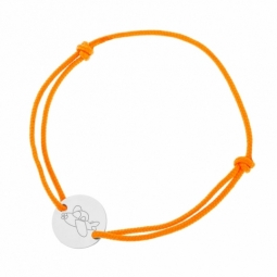 Bracelet cordon orange en argent rhodié, avion