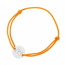 Bracelet cordon orange en argent rhodié, avion