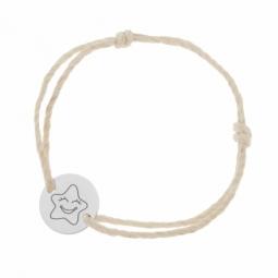 Bracelet cordon phosphorescent en argent rhodié, étoile