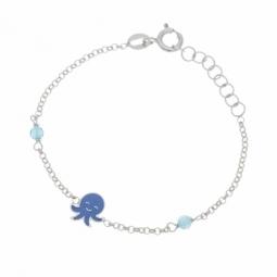 Bracelet en argent rhodié, laque et oxydes de zirconium , pieuvre