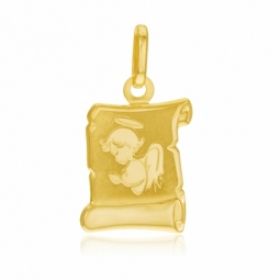 Médaille parchemin en or jaune, ange