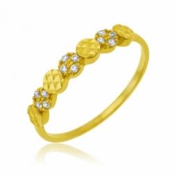 Bague en or jaune, oxydes de zirconium