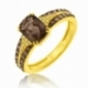 Bague en or jaune rhodié, quartz fumé, diamants blancs et diamants bruns - A