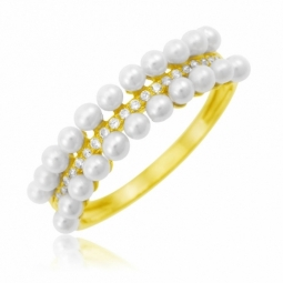 Bague en or jaune, oxydes de zirconium et perles