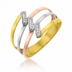 Bague en or rhodié 3 couleurs et diamants