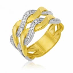 Bague en or jaune et rhodié, diamants