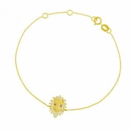 Bracelet en or jaune et oxydes de zirconium, lion
