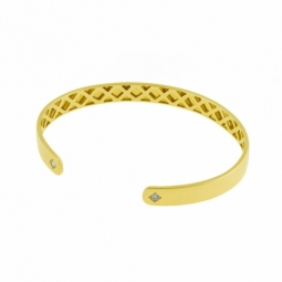 Bracelet jonc ouvert en or jaune et diamants
