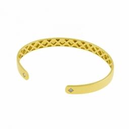 Bracelet jonc ouvert en or jaune et diamants