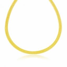 Collier en or jaune maille lisse et mat