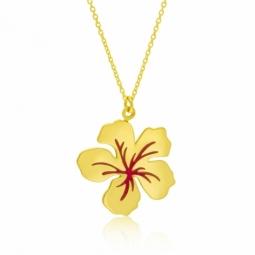 Collier en or jaune et laque, fleur