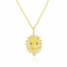 Collier en or jaune et oxydes de zirconium, lion