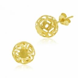 Boucles d'oreilles en or jaune, boule ajourée