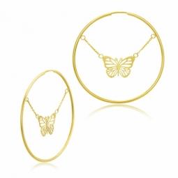 Boucles créoles en or jaune, papillon