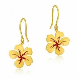 Boucles d'oreilles crochet en or jaune et laque, fleur