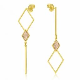 Boucles d'oreilles en or jaune et laque pailletée