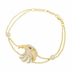 Bracelet en argent doré et oxydes de zirconium