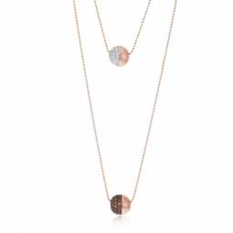Collier en bronze plaqué or rose et rhodié, oxydes de zirconium