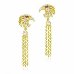 Boucles d'oreilles en argent doré et oxydes de zirconium rouge et blanc