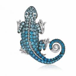 Broche pendentif en argent rhodié et oxydes de zirconium, gecko