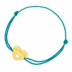 Bracelet cordon turquoise en or jaune, coeur ajouré