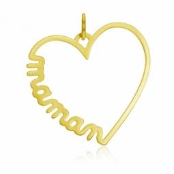 Pendentif en or jaune, coeur maman