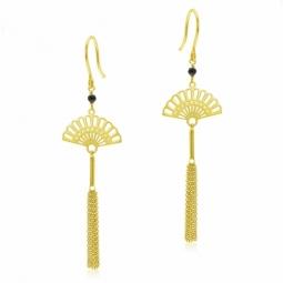 Boucles d'oreilles en or jaune et spinelle