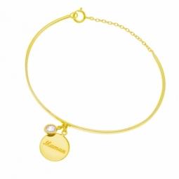 Bracelet jonc en plaqué or et oxyde de zirconium, MAMAN