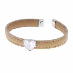 Bracelet jonc en argent rhodié, intérieur acier, cuir et nacre