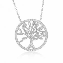 Collier en argent rhodié et oxydes de zirconium, arbre de vie