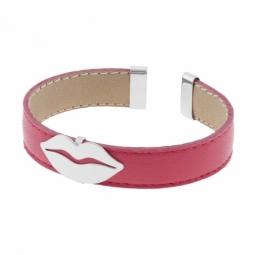 Bracelet en argent rhodié, cuir ,intérieur acier