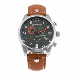 Chronographe homme, boîte acier, bracelet cuir et verre minéral