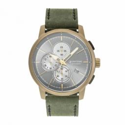 Chronographe homme, boîte acier doré kaki, bracelet cuir et verre minéral