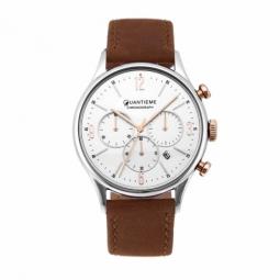 Chronographe homme, boîte acier, bracelet cuir marron et verre minéral