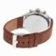 Chronographe homme, boîte acier, bracelet cuir marron et verre minéral - C