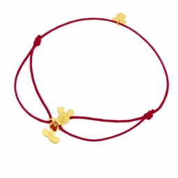Bracelet cordon rouge en or jaune et laque, Mickey Disney