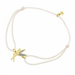 Bracelet cordon en or jaune et laque pailletée, Fée Clochette Disney