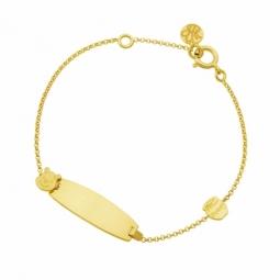 Bracelet identité en or jaune, Winnie l'Ourson Disney