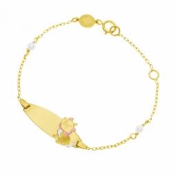 Bracelet identité en or jaune, laque et perles de culture, Marie Disney