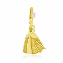 Pendentif en or jaune mate et lisse et oxyde de zirconium, Princesse Cendrillon Disney