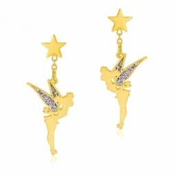 Boucles d'oreilles pendantes en or jaune et laque pailletée, Fée Clochette Disney