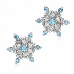 Boucles d'oreilles en or gris et oxydes de zirconium, flocon de neige La Reine des Neiges Disney